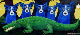 портреты в спальне Скидка Высокое качество 100% расписанную Современные абстрактные картины маслом на холсте Картины животных голубой собаки Главная Wall Decor Art AMD-68-18-9