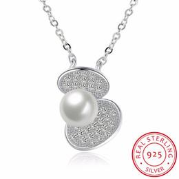 collana di perle per il giorno delle nozze Sconti Collana in argento sterling 925 con conchiglia perla e collana di diamanti Gioielli regalo donna argento gioielli matrimonio San Valentino