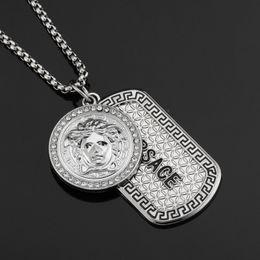 2019 dipinti di gattino Collana con pendente Hip Hop Collana con pendente con strass Collana con pendente in lega medaglia greca Collana in argento con catena da uomo