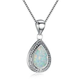 Pietre di rottura online-Big White Opal Stone Tear Water Drop Pendant Neckalce cristallo per le donne Argento Filled Wedding Engagement regalo gioielli
