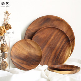 wood plates Coupons - Wooden Circular Fruit Dishes No Paint Dry Fruits Cake Snack Plate Home Restaurant Hot Sell Small Dish 32cyC1