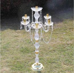 Dernière pièce maîtresse de mariage en cristal acrylique Or / ruban candélabres bougeoir titulaire de la fête événement décoration de table décoration decor11 ? partir de fabricateur