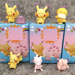 Exhibiciones de muñecas online-6 Estilos / Set Pikachu Doll Toys 3.5cm PVC Q Versión Twist Egg Figuras de acción Doll Blind Box Cute Little Gift Decoración Display L343