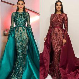 Deutschland 2019 Luxus lange Ärmel Meerjungfrau Abendkleid mit abnehmbarem Zug Juwel Illusion Applikationen Pailletten Mode Abendkleid formelle Partykleid Versorgung