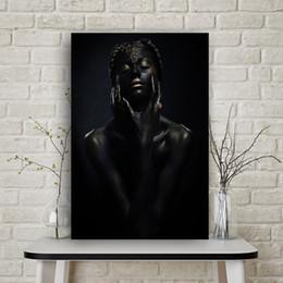 1 Pcs Black Art Nude Africano Mulher Canvas Painting Cuadros Cartazes e Prints Scandinavian Parede Imagem para Sala de estar Sem Moldura de
