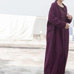 Фиолетовое весеннее пальто онлайн-Женщины фиолетовый старинные мешковины тренч кардиган хлопок и лен пальто 2019 весна новый длинный рукав кнопка свободные женщины длинный плащ