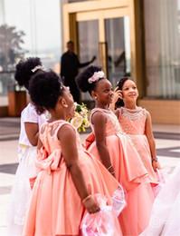 Schwarzes erröten hochzeitskleid online-Afrikanische schwarze Mädchen Spitze applqied a-line Blumenmädchen Kleid erröten rosa Prinzessin Ballkleid Mädchen formale Hochzeitskleid Festzug Partykleid