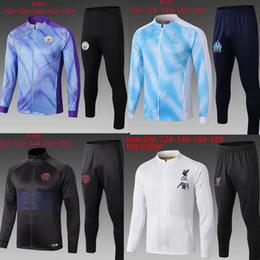 Kits de formation de football en Ligne-enfants kits de footbal 19-20 Marseille costume de formation de football pull survêtement de football Real Madrid veste de jogging de chandal