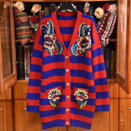 2019 Spring Luxury Striped Print Sequin Applique Knitted V Neck Fashion Long  Cardigan Women Long Sleeve Casual Wool Blend Sweaters 18266lZ06 d2fdaf9b5c23