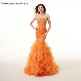 vestidos de fiesta largos de seda simples Rebajas Forevergracedress Real Pictures Gorgeous Orange Prom Dress Nuevos cristales de sirena de alta calidad Vestido de fiesta formal largo Plus