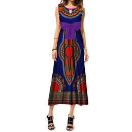 vestido estampado africano Desconto Vestidos africanos para as Mulheres Dashiki Imprimir Bow Tie Longo Vestido Bazin Riche 100% Algodão Ankara Vestido de Noite Africano Roupas WY3460