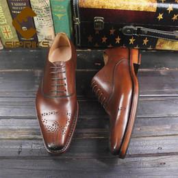 zapatos italianos de cuero vintage Rebajas Sipriks Imported Italian Genuine Leather Black Brogue Shoes Vintage para hombre Classic Oxfords a medida Goodyear Welted Shoes Big 44
