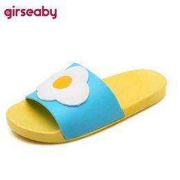 0257077326f0a6 Girseaby Hot sale sweet Summer Women Slides Fruit Cartoon Beach Slippers  Causal Platform Sandals Women Shoes Flip Flops T165f