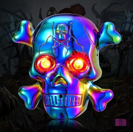 fantôme usb Promotion Date Coloré Ghost Crâne Os Alliage De Zinc USB Électronique Briquet Illuminent Des Yeux D'horreur Son Cyclique De Charge Pour Cigarette Fumer Pipe