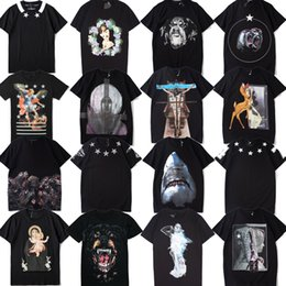 Novo Padrão de Tubarão Rottweiler Homens Designer T shirt mulheres Paris marca clothing impresso T-shirt de Alta qualidade 100% algodão Tshirt Masculino 16 Estilo de