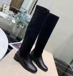 2019 stivali alti a ginocchio Stivaletti al ginocchio invernali da donna di marca di moda da neve Punta tonda Martin Square Tacco Stivali alti in pelle di mucca SZ35-40 stivali alti a ginocchio economici