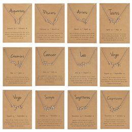 Libra halsketten online-12 Sternbild Sternzeichen Halskette Horoskop Zeichen Zirkon koreanischen Schmuck Star Galaxy Waage Astrologie Frauen Halskette Geschenk mit Retail-Karte