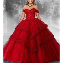 New Red Ball Gown Quinceanera Vestidos Prom Dress Querida Applique Partido Doce Princesa Vestidos de