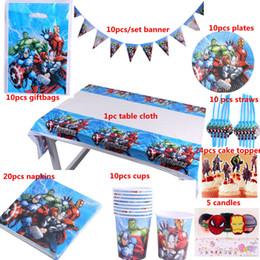 decoraciones de fiesta de cumpleaños de lujo Rebajas Envío gratis 100 unids lujo feliz cumpleaños Kidsthe Avengers fiesta ducha decoración vajilla establece proveedores al por mayor J190723