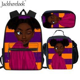 blow bags Promo Codes - Jackherelook School Bags For Teen Girls African Black Girl Blowing Bubble Gum Print Primary Designer Backpack Book Student Bag