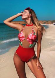 Mujeres RED floral malla Bikinis verano bañadores de una pieza Sexy playa traje de baño vacaciones Bikini desde fabricantes