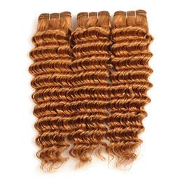 Hellbraune jungfrau indisches haar online-Farbe 30 Auburn Virgin Indian Curly Menschenhaar-webart 3 Stücke Lot Tiefe Welle Hellbraun Reines Haar Doppeleinschlagfäden 300g