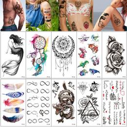 2136dc33b feather tattoos foot Promo Codes - Fake Black Temporary Tattoo Sticker  Mermaid Dreamcatcher Cat Feather Dragon