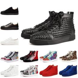 2019 rendas de bailarina Marca de luxo dos homens de fundo vermelho sapatos cravejados picos das mulheres spike sapatos amantes do partido moda tênis de plataforma de couro genuíno