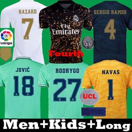 Vrai joueur en Ligne-2019 2020 Real Madrid Quatrième Football Maillots RISQUE Joueur de football chemise verstion ASENSIO MARCELO madrid 19 20 Kit longues enfants uniformes de football
