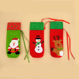 candle factories Promo Codes - New Year Christmas Gift for Home Banquet Party Tableware Decoration Factory Outlet Santa Claus Snowmen Elk Wine Bottle Cover