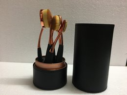 2019 schwarzer goldbürsten-set Factory Direct DHL-freies Verschiffen neuer Verfassungs-Bürste-Rose Gold Oval 6 Stück Pinsel mit schwarzem Cup-Halter-Kasten! rabatt schwarzer goldbürsten-set