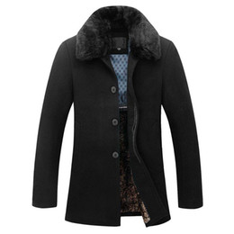 Schöne pelze online-Men Casual Slim Fit Winter warm Overcoat Herren Pea Coat Manteau Homme Pelz-Wolle-Mantel-Männer Nizza Marke Tide Design-Jacken