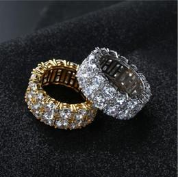 Anillos de diamantes de imitación de Hip Hop para hombres, mujeres - Aleación de color plateado dorado Circón cúbico helado Bling Anillo cubano Joyas de lujo (tamaño EE.UU. 7-11) desde fabricantes