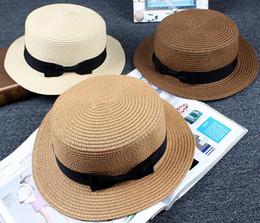 cappello da sole Carino cappelli da sole per bambini arco fatto a mano  donne berretto di paglia spiaggia cappello a tesa larga berretto estivo  casual glis ... 55b54a5feaad