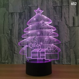 Argentina Árbol de Navidad Papá Noel Ilusión 3D Lámpara LED Luz nocturna 7 RGB Colorido Alimentado por USB 5ta Batería Bin Botón táctil Dropshipping Caja de regalo cheap led button batteries Suministro