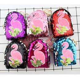 Adesivo punto tela online-New Flamingo Sequin Portamonete sirena scaglie chiavi caso cucito autoadesivo adesivo per cuffie Borsa creativa pendente ciondolo con paillettes