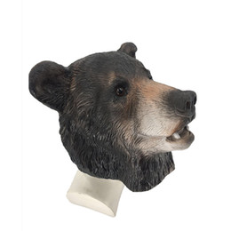 bear fancy dress Coupons - Eco-friendly Halloween Party Fancy Dress Rubber Realistic Animal Bear Head Latex Mask