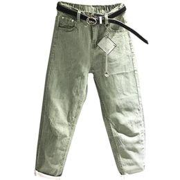 Caviglia elastica jeans online-2019 Spring Fashion Harem Jeans Pantaloni a vita alta donna verde Jeans Denim denim lavato casual Stretch lunghezza caviglia