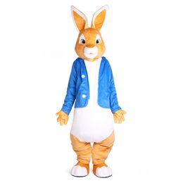 Costume complet de mascotte de lapin en Ligne-Peter Rabbit Mascot Costumes Mascotte de Noël Unisexe Buny Costume Déguisement pour adulte complet tenue Hallween Pourim partie