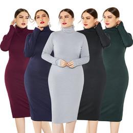 abiti sexy della signora di natale Sconti XL-5XL 2019 New Women Bodycon Dress Stand Collar Stretch Above Kneel Knit Dress Sexy Streetwear High Quality Basic Perfect Dress