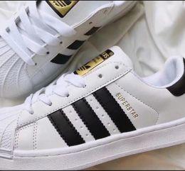 Weiße farbe schuhe für männer online-Große Größe EU 36-44 Schuhe der Originale Männer für Schuhe der Frauen weißer Schuh-Laser blenden Farben-Superstar-Shell-beiläufige Schuhe