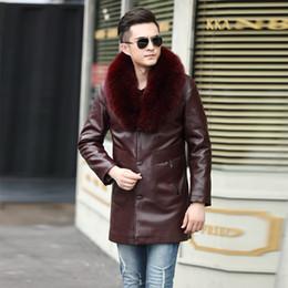 giacca di pelle di pecora spessa Sconti 2019 Faux Leather Coat Uomo Giacca in pelle di montone Biker spesso caldo cappotto invernale in pelle Tosatura delle pecore Giacca da uomo in pelliccia rossa
