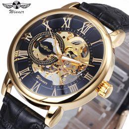 2019 спортивные часы оптом WINNER Mechanical Mens Watches Top  Skeleton Dial Golden Index Wristwatches for VIP Wholesale Dropship Customer скидка спортивные часы оптом