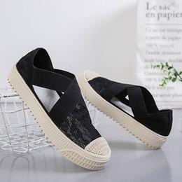 zapatos de lona casuales para mujer Rebajas 2019 Slip-on Mesh para mujer zapatos casuales mujer fisher flats damas zapatos de lona sandalias huecas sandalia de fondo plano para mujer zy440