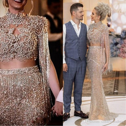 Tubo de hueso online-2020 New Major Beaded Crystals Mermaid Prom Dresses Aso Ebi Arabic Gold Sequined Formal Party Second Reception Gowns