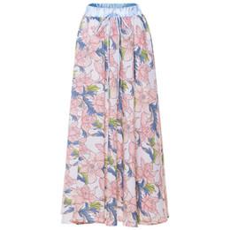 Jupe plissée à plus grande taille en Ligne-Élégant D'été D'impression En Mousseline De Soie Jupe Femmes 2019 Plus La Taille Plissée Jupes Longues Femmes Falda Mujer Jupes Longues Femmes Maxi Jupe
