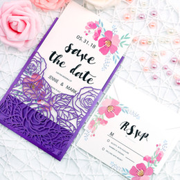 Wholesale Wedding Invitations - 2019 Purple New Rose Pattern Invitation Cards With Envelope For Birthday, Bridal Shower, Engagement,Bachelorette Party,Wedding Invitation