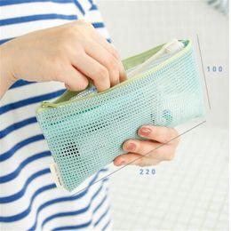 Maglia di maglia piccola online-Travel Cosmetic Bag Women Trasparente Zipper a rete con cerniera Make up Organizer Bag Storage Custodia Custodia Custodia Piccola toeletta Beauty Wash