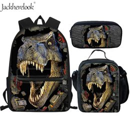 2019 garçons adolescents Jackherelook Cool T-rex Dinosaure School Bags Set 3 Pcs Grande Toile Sac à dos Teen Boys Étudiants Book Bag avec Lunch Box Pen Case promotion garçons adolescents