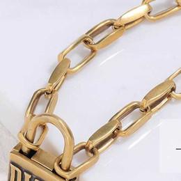 2019 collar redondo eslabones de cadena de bronce Collar de cadena Carta diseñador de la vendimia de bloqueo corto colgante collar de la mujer de bloqueo para la joyería del regalo del partido de la alta calidad